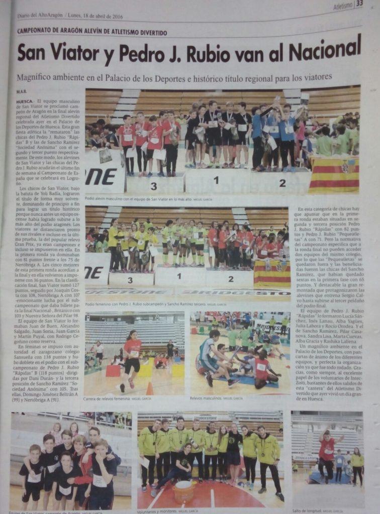 Diario Alto Aragón….cto aragon Jug  Atlmo 2016